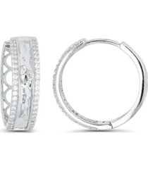 macy's cubic zirconia rhodium plated pave hammered hoop earrings