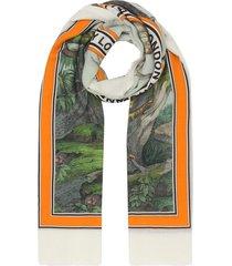burberry monkey print lightweight cashmere scarf - orange
