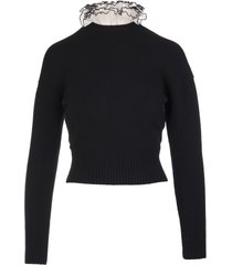 alexander mcqueen woman black sweater with ruches detail