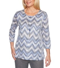 alfred dunner sapphire skies chevron knit necklace top