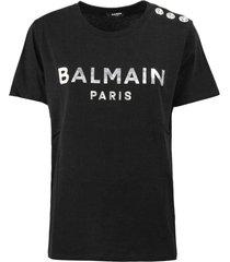 balmain black and silver cotton t-shirt