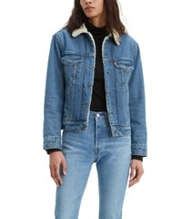levi's denim trucker jacket with faux-sherpa trim