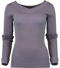 ribbed lurex pullover