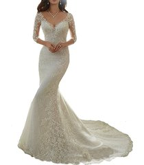 ivory lace mermaid wedding dress 3/4 sleeves,wedding gown,bridal dress 2017