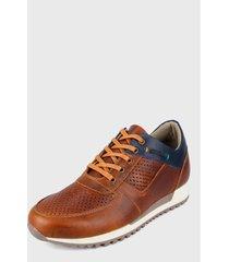 zapato casual miel-azul-blanco san polos