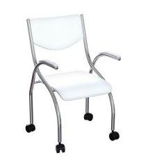 cadeira de escritório secretária colorado estofada cromada e branca