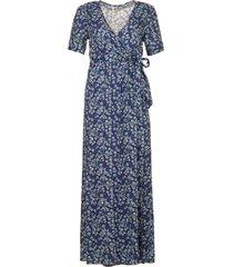 maxi wikkeljurk met bloemenprint lilliana  blauw