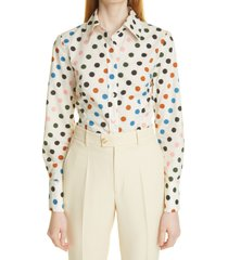 carolina herrera polka dot organic cotton poplin button-up shirt, size 2 in white multi at nordstrom