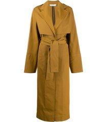 victoria beckham tie-waist trench coat - brown