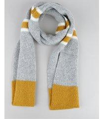 cachecol de tricô unissex com listras cinza mescla