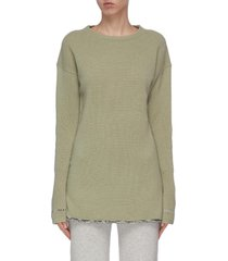 distressed detail cashmere sweater