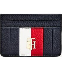 tommy hilfiger women's pebbled credit card holder desert sky -