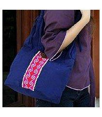 cotton handbag, 'rose river' (thailand)