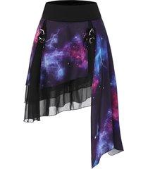 galaxy print buckle layered asymmetrical skirt