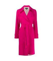 theory trench coat com cinto - rosa