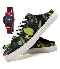 tênis mule sapatênis casual fashion com relógio chili feminino dubuy 314el verde
