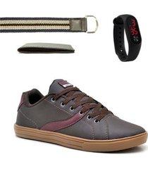 kit sapatênis masculino + carteira + cinto + relógio digital - masculino