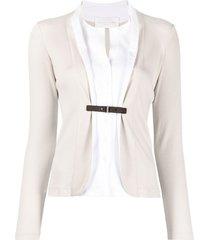 fabiana filippi shirt-style belted blazer - neutrals
