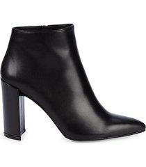 pure leather block-heel booties