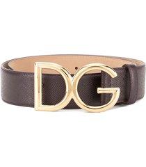 dolce & gabbana branded buckle belt - purple