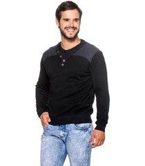 suéter officina do tricô suéter botão preto - kanui