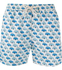mc2 saint barth vintage car print swim shorts - branco