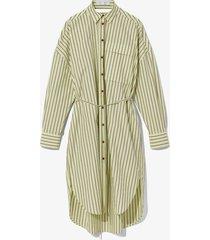 proenza schouler white label stripe poplin shirt dress pistachio/burgundy/yellow 6