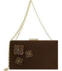 bolsa le diamond clutch flowers feminina - feminino