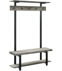alaterre furniture pomona entryway hall tree with bench, shelves and coat hooks