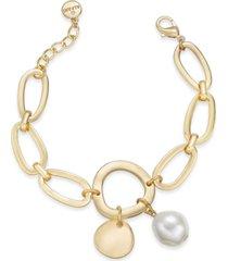 alfani gold-tone disc & imitation pearl link bracelet, created for macy's