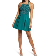 women's speechless caviar pleated skirt satin minidress, size 1 - green