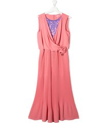 miss blumarine sequin panel pleated detail jumpsuit - pink