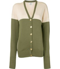 chanel pre-owned cc button front opening long sleeve cardigan - green