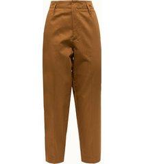 forte forte pantalone in cotone color tabacco