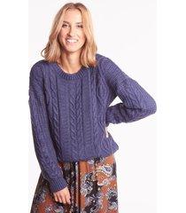 sweter jenna warkocz navy blue