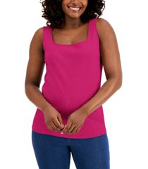 karen scott cotton square-neck tank top, created for macy's