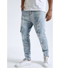 hombre plain zip fly ripped skinny jeans