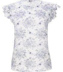 blusa m/s flores color blanco, talla l