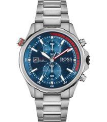 hugo boss men's chronograph globetrotter stainless steel bracelet watch 46mm