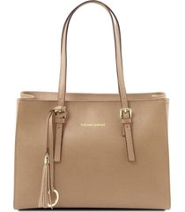 tuscany leather tl141518 tl bag - borsa a mano in pelle saffiano caramello