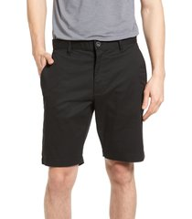 rvca the week-end stretch twill chino shorts, size 30 in black at nordstrom