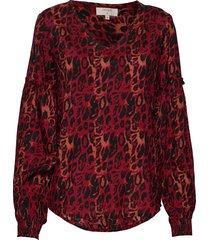isley blouse blus långärmad röd cream