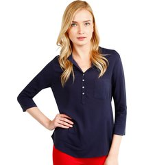 blusa patprimo manga 43558 pechera corta azul