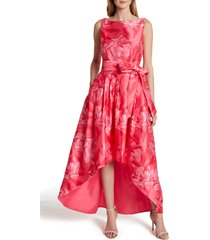 women's tahari tie waist mikado high/low gown