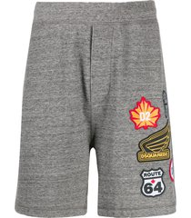 dsquared2 embroidered logo patch track shorts - grey