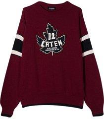 dsquared2 burgundy sweatshirt