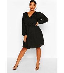 plus crepe blouson sleeve skater dress, black