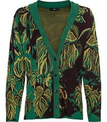 jacquard-gebreid vest van bio-katoen met bladerendessin, groen-motief 38