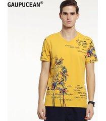 camiseta manga corta v-cuello gaupucean para hombre-amarillo