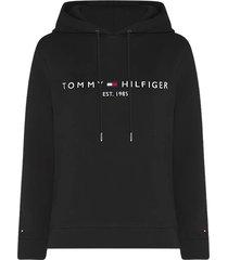tommy hilfiger essential fleece hoodie met logo zwart